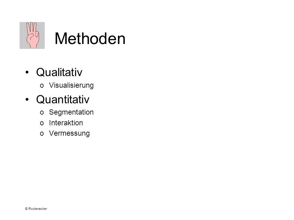 © Rodenacker Methoden Qualitativ oVisualisierung Quantitativ oSegmentation oInteraktion oVermessung