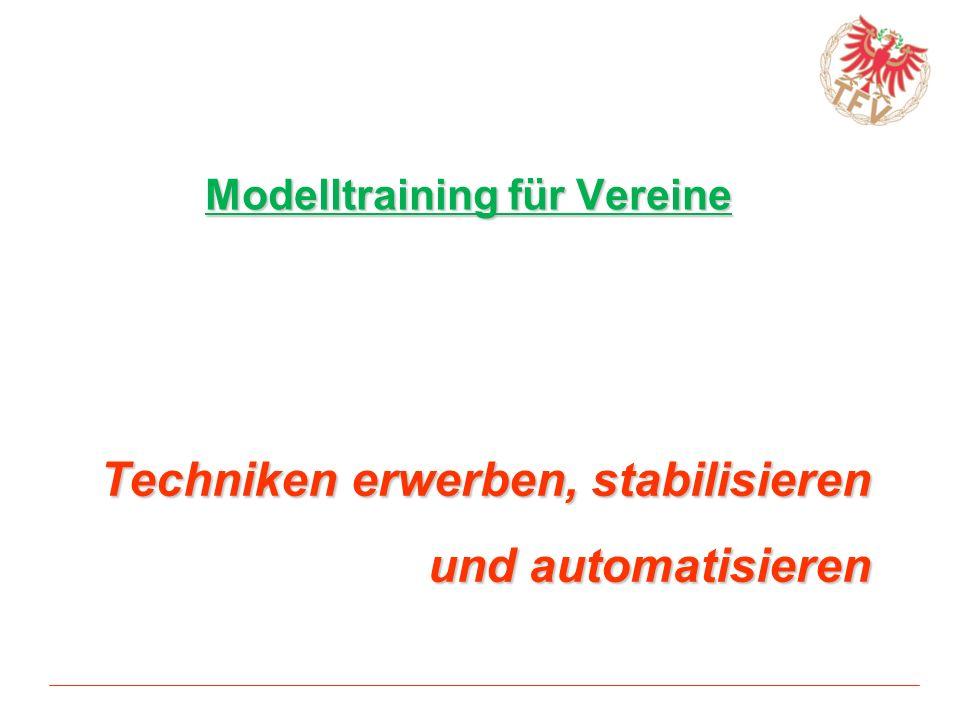 Modelltraining für Vereine Techniken erwerben, stabilisieren und automatisieren