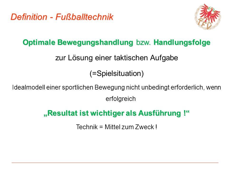 Definition - Fußballtechnik Optimale Bewegungshandlung bzw. Handlungsfolge zur Lösung einer taktischen Aufgabe (=Spielsituation) Idealmodell einer spo