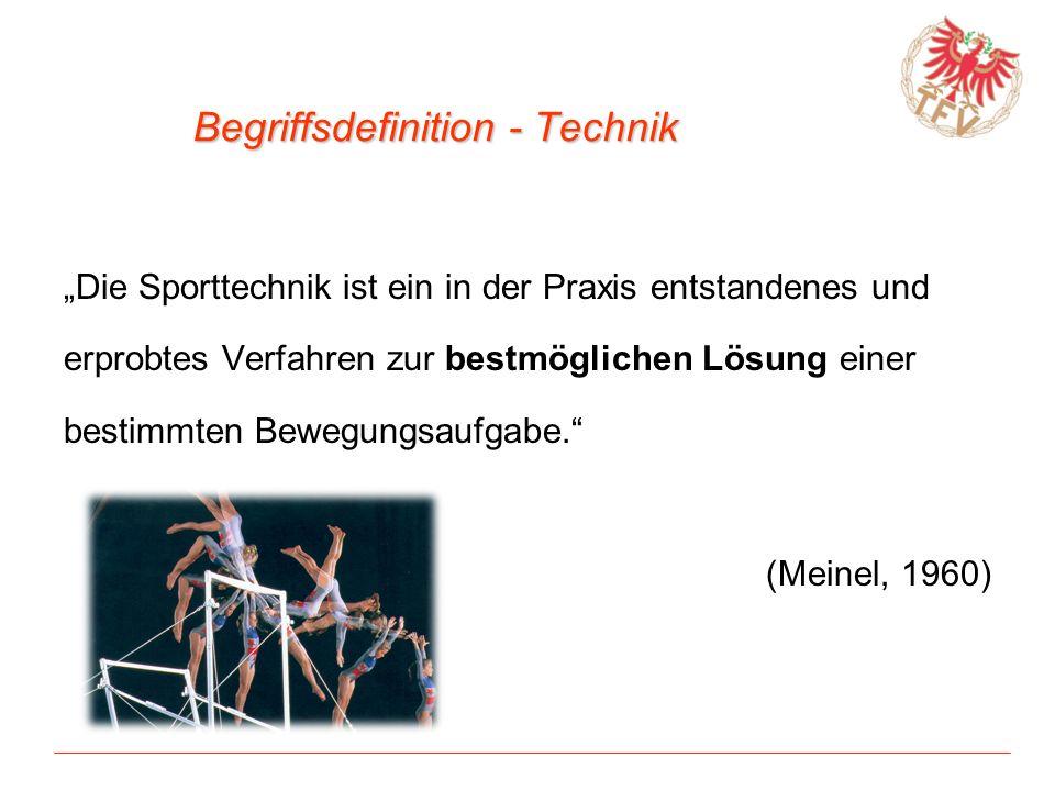 Begriffsdefinition - Technik Die Sporttechnik ist ein in der Praxis entstandenes und erprobtes Verfahren zur bestmöglichen Lösung einer bestimmten Bew