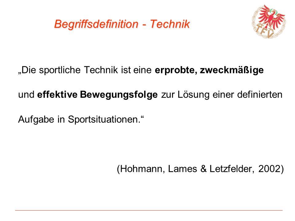 Begriffsdefinition - Technik Die sportliche Technik ist eine erprobte, zweckmäßige und effektive Bewegungsfolge zur Lösung einer definierten Aufgabe i