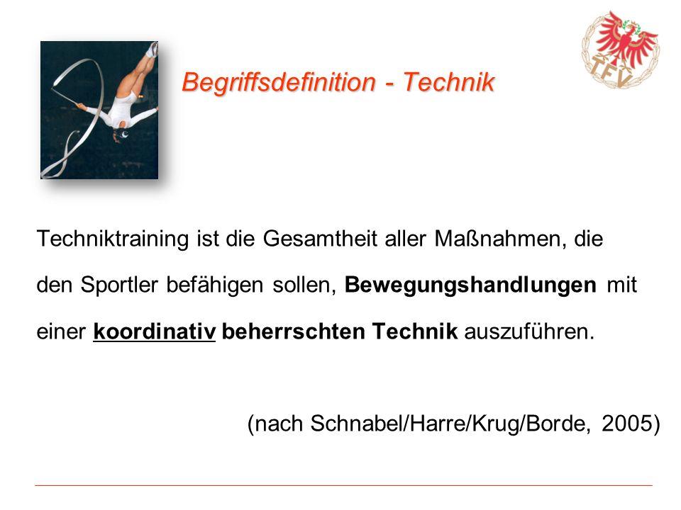 Begriffsdefinition - Technik Techniktraining ist die Gesamtheit aller Maßnahmen, die den Sportler befähigen sollen, Bewegungshandlungen mit einer koor