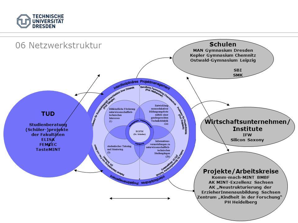 06 Netzwerkstruktur TUD Studienberatung (Schüler-)projekte der Fakultäten ELISA FEMTEC TasteMINT Projekte/Arbeitskreise Komm-mach-MINT BMBF AK MINT-Ex