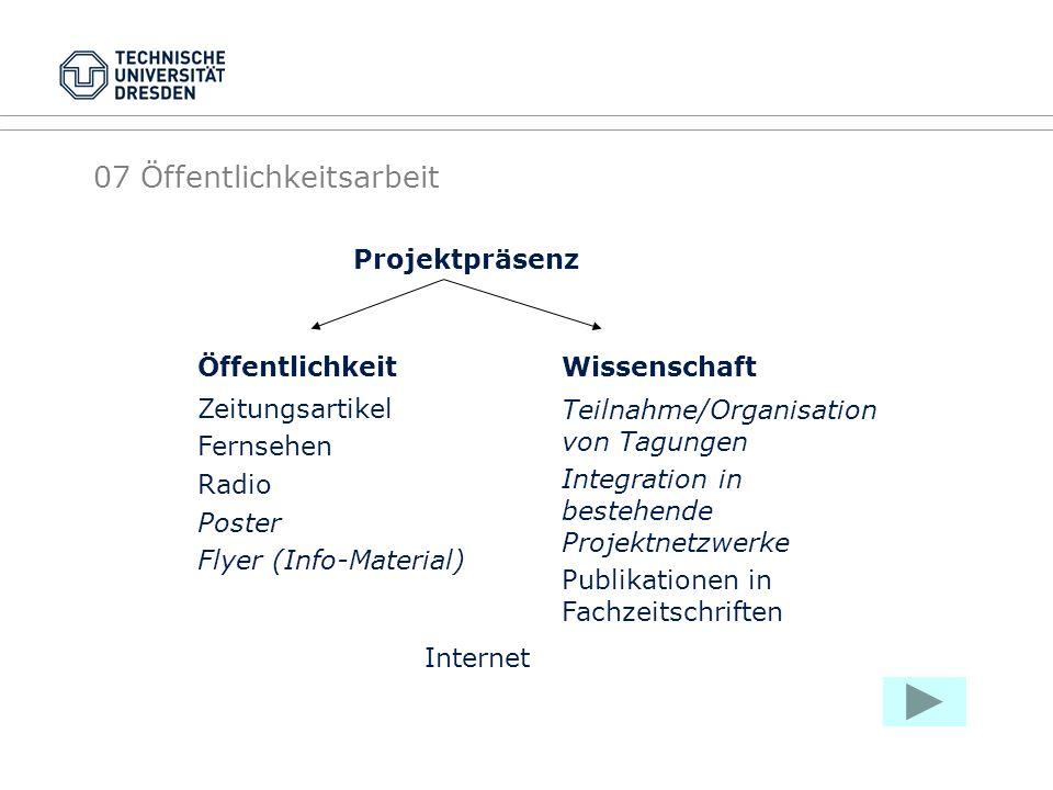 07 Öffentlichkeitsarbeit Projektpräsenz Öffentlichkeit Zeitungsartikel Fernsehen Radio Poster Flyer (Info-Material) Wissenschaft Teilnahme/Organisatio