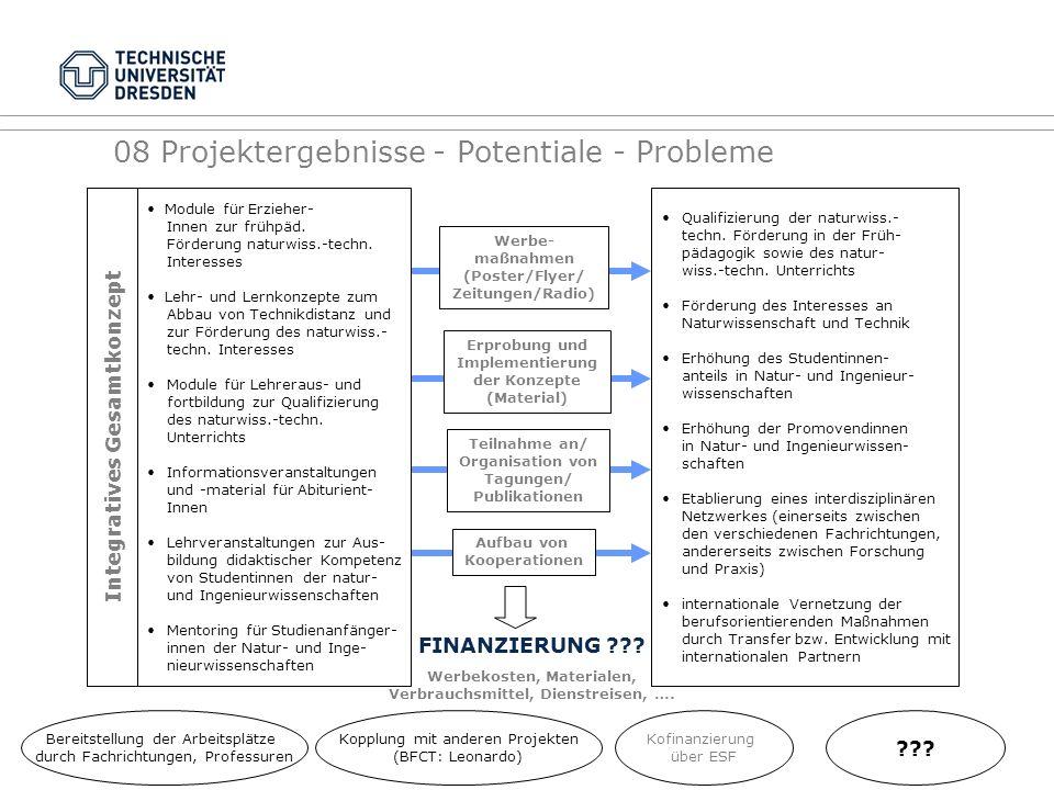 08 Projektergebnisse - Potentiale - Probleme Integratives Gesamtkonzept Qualifizierung der naturwiss.- techn. Förderung in der Früh- pädagogik sowie d
