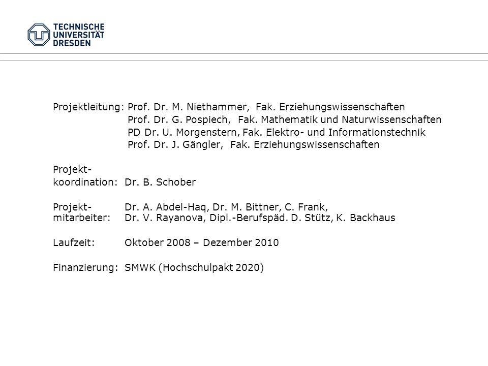 Projektleitung: Prof. Dr. M. Niethammer, Fak. Erziehungswissenschaften Prof. Dr. G. Pospiech, Fak. Mathematik und Naturwissenschaften PD Dr. U. Morgen