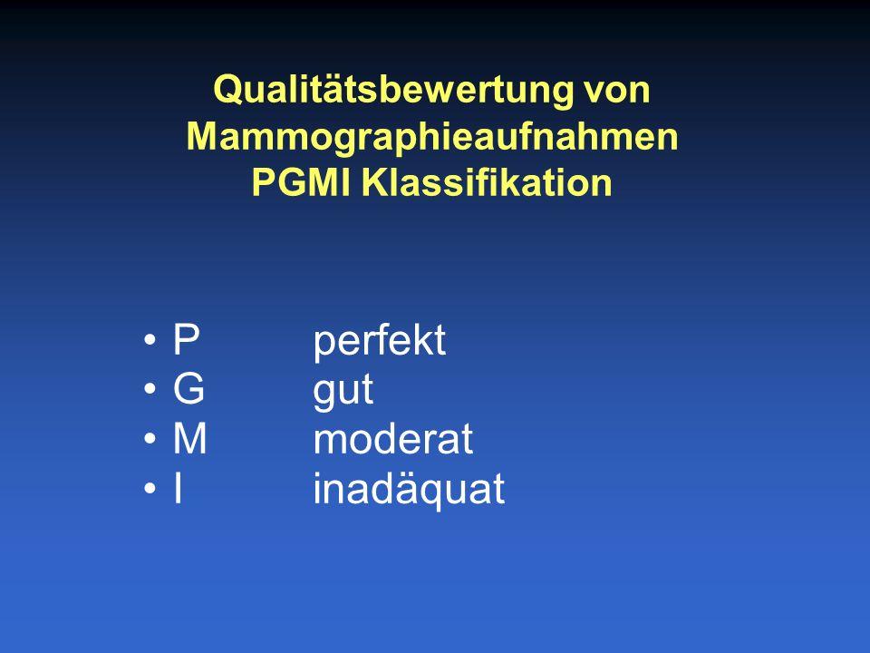 P perfekt Ggut Mmoderat Iinadäquat Qualitätsbewertung von Mammographieaufnahmen PGMI Klassifikation