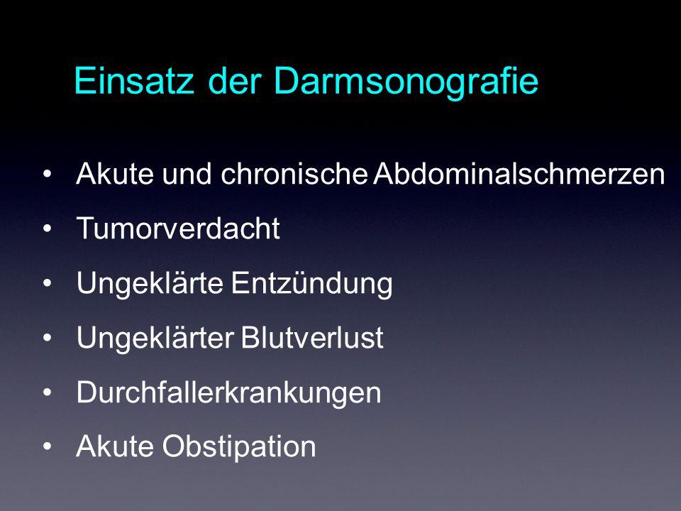 Einsatz der Darmsonografie Akute und chronische Abdominalschmerzen Tumorverdacht Ungeklärte Entzündung Ungeklärter Blutverlust Durchfallerkrankungen Akute Obstipation
