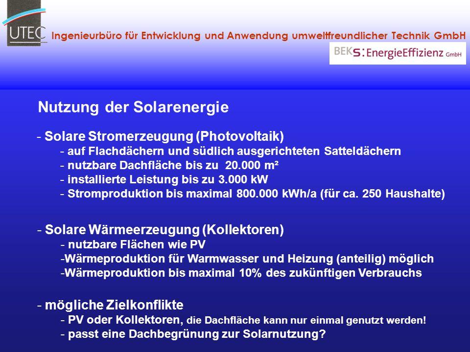 Ingenieurbüro für Entwicklung und Anwendung umweltfreundlicher Technik GmbH - Solare Stromerzeugung (Photovoltaik) - auf Flachdächern und südlich ausg