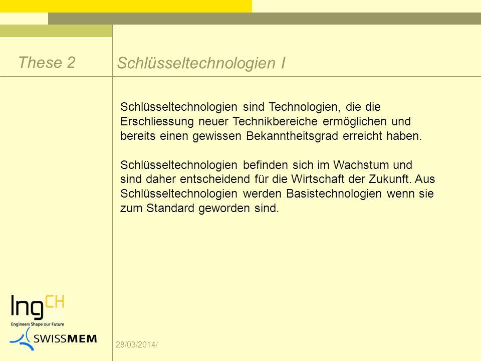 28/03/2014/ Schlüsseltechnologien I These 2 Schlüsseltechnologien sind Technologien, die die Erschliessung neuer Technikbereiche ermöglichen und bereits einen gewissen Bekanntheitsgrad erreicht haben.