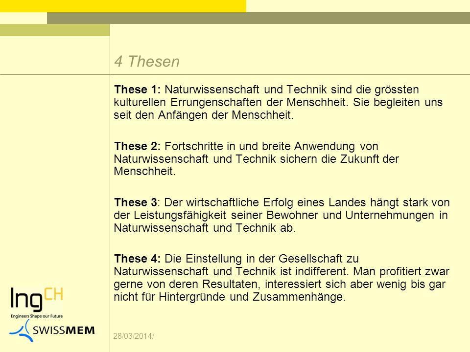 28/03/2014/ These 1: Naturwissenschaft und Technik sind die grössten kulturellen Errungenschaften der Menschheit.