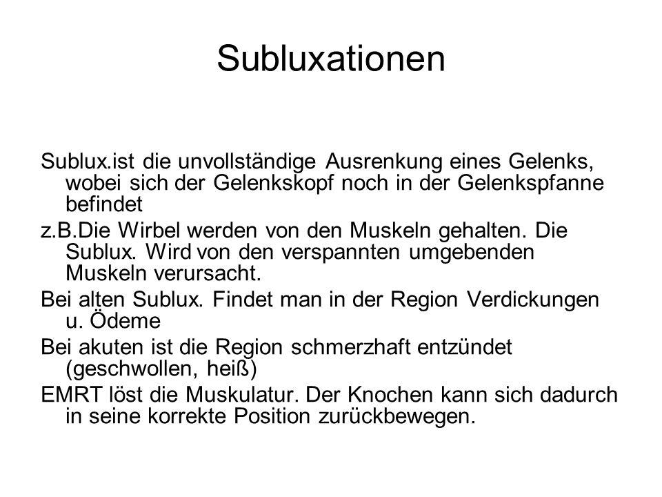 Subluxationen Sublux.ist die unvollständige Ausrenkung eines Gelenks, wobei sich der Gelenkskopf noch in der Gelenkspfanne befindet z.B.Die Wirbel wer