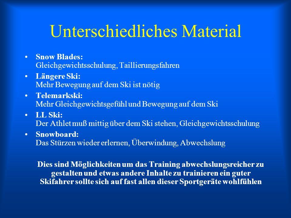 Unterschiedliches Material Snow Blades: Gleichgewichtsschulung, Taillierungsfahren Längere Ski: Mehr Bewegung auf dem Ski ist nötig Telemarkski: Mehr