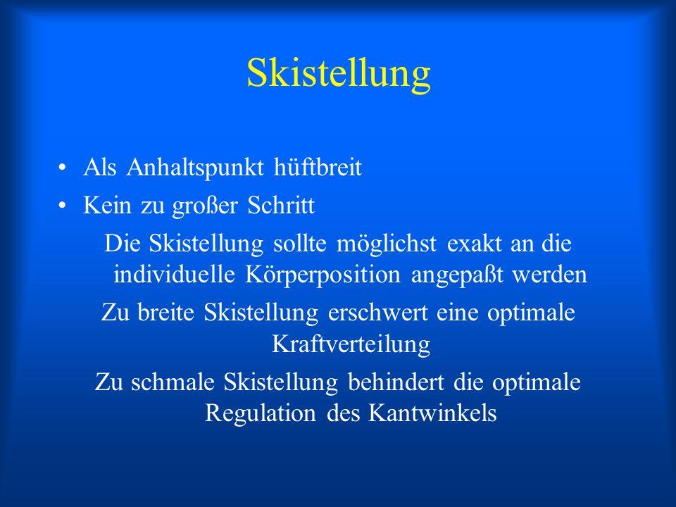 Skistellung Als Anhaltspunkt hüftbreit Kein zu großer Schritt Die Skistellung sollte möglichst exakt an die individuelle Körperposition angepaßt werde