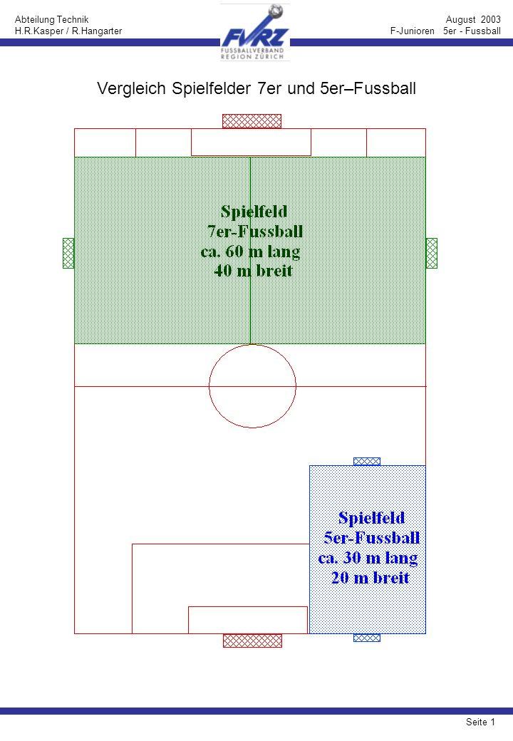 Seite 2 Abteilung Technik H.R.Kasper / R.Hangarter August 2003 F-Junioren 5er - Fussball Platzeinteilung für den 5er–Fussball (ohne Pfeile): 18 Teams (Variante 1)