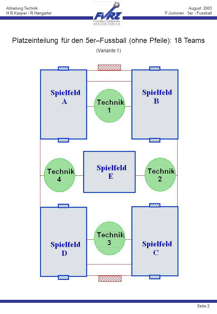 Seite 3 Abteilung Technik H.R.Kasper / R.Hangarter August 2003 F-Junioren 5er - Fussball Platzeinteilung für den 5er–Fussball (mit Pfeilen): 18 Teams (Variante 1)