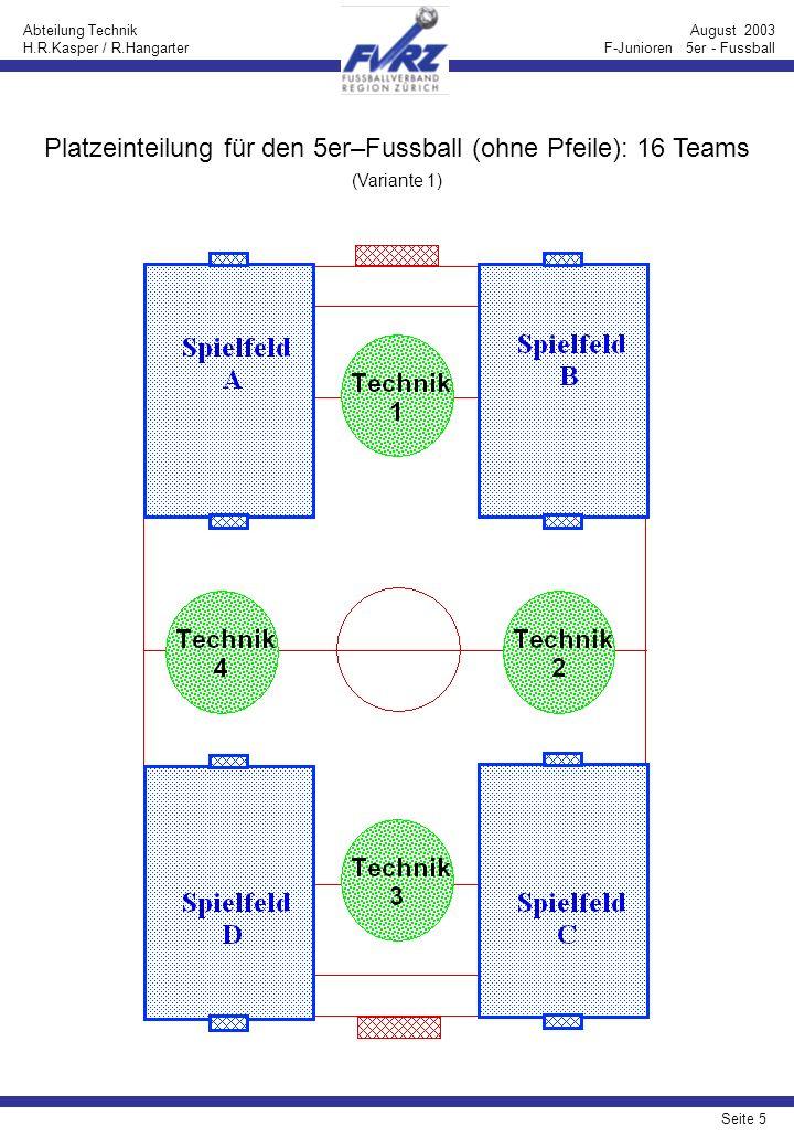 Seite 6 Abteilung Technik H.R.Kasper / R.Hangarter August 2003 F-Junioren 5er - Fussball Platzeinteilung für den 5er–Fussball (mit Pfeilen): 16 Teams (Variante 1)