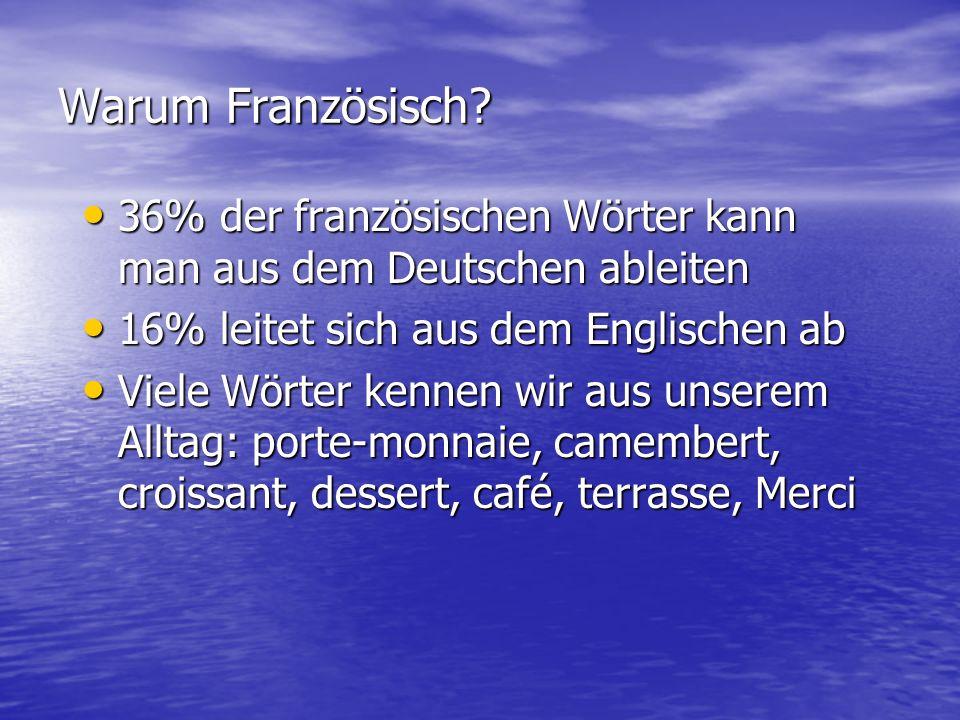 Warum Französisch? 36% der französischen Wörter kann man aus dem Deutschen ableiten 36% der französischen Wörter kann man aus dem Deutschen ableiten 1