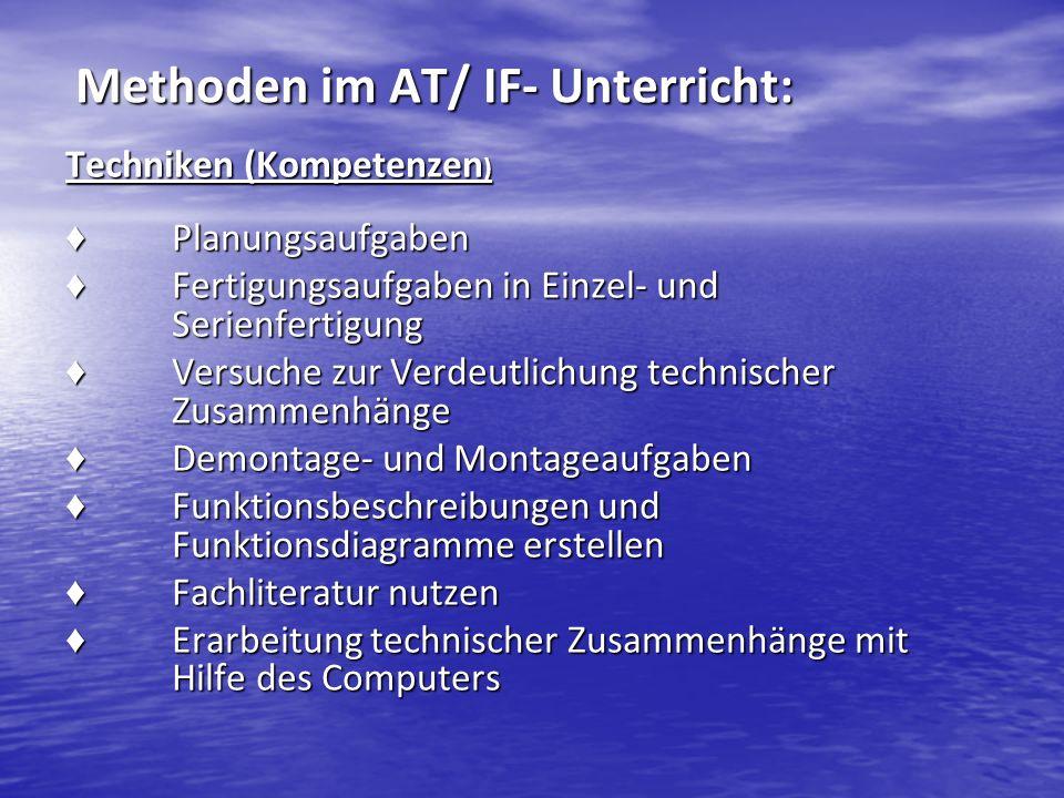 Methoden im AT/ IF- Unterricht: Methoden im AT/ IF- Unterricht: Techniken (Kompetenzen ) Planungsaufgaben Planungsaufgaben Fertigungsaufgaben in Einze
