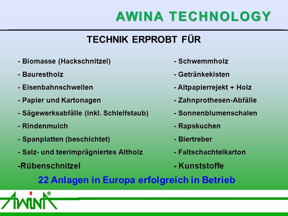 5 06/2003 TECHNIK ERPROBT FÜR - Biomasse (Hackschnitzel)- Schwemmholz - Baurestholz- Getränkekisten - Eisenbahnschwellen- Altpapierrejekt + Holz - Papier und Kartonagen- Zahnprothesen-Abfälle - Sägewerksabfälle (inkl.