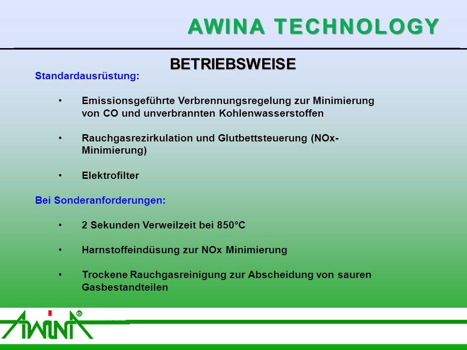 6 06/2003 BETRIEBSWEISE Standardausrüstung: Emissionsgeführte Verbrennungsregelung zur Minimierung von CO und unverbrannten Kohlenwasserstoffen Rauchgasrezirkulation und Glutbettsteuerung (NOx- Minimierung) Elektrofilter Bei Sonderanforderungen: 2 Sekunden Verweilzeit bei 850°C Harnstoffeindüsung zur NOx Minimierung Trockene Rauchgasreinigung zur Abscheidung von sauren Gasbestandteilen Schlauchfilter AWINA TECHNOLOGY