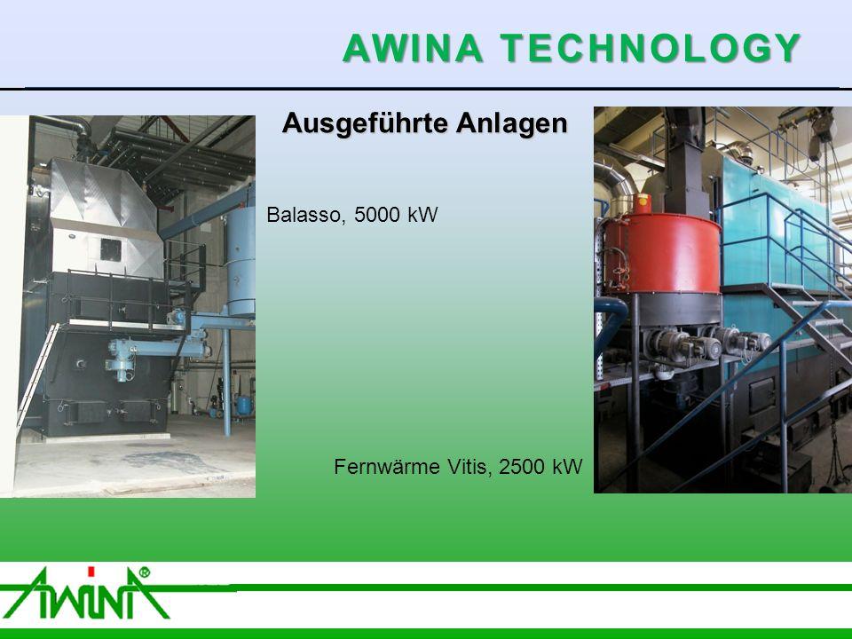 8 06/2003 Ausgeführte Anlagen Balasso, 5000 kW Fernwärme Vitis, 2500 kW AWINA TECHNOLOGY