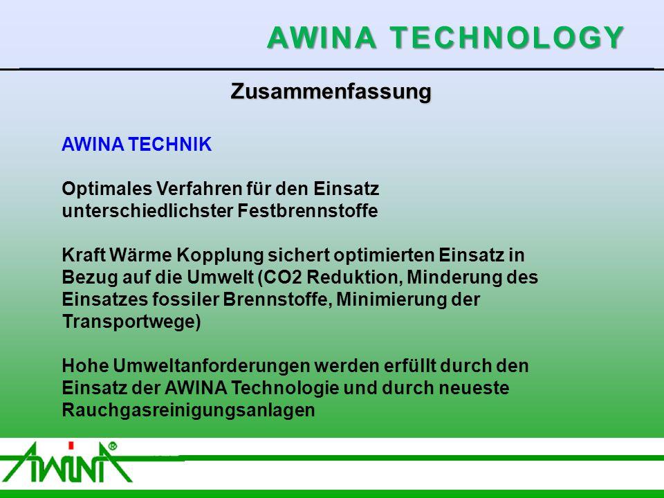 9 06/2003 Zusammenfassung AWINA TECHNIK Optimales Verfahren für den Einsatz unterschiedlichster Festbrennstoffe Kraft Wärme Kopplung sichert optimierten Einsatz in Bezug auf die Umwelt (CO2 Reduktion, Minderung des Einsatzes fossiler Brennstoffe, Minimierung der Transportwege) Hohe Umweltanforderungen werden erfüllt durch den Einsatz der AWINA Technologie und durch neueste Rauchgasreinigungsanlagen AWINA TECHNOLOGY