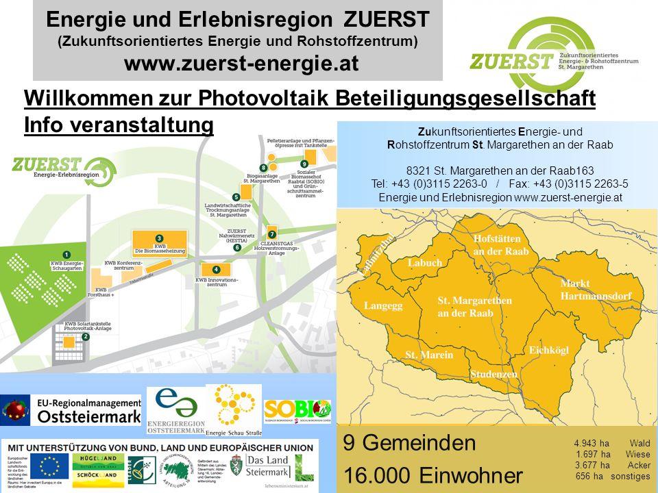 Energie und Erlebnisregion ZUERST (Zukunftsorientiertes Energie und Rohstoffzentrum) www.zuerst-energie.at 1 9 Gemeinden 16.000 Einwohner 4.943 ha Wal