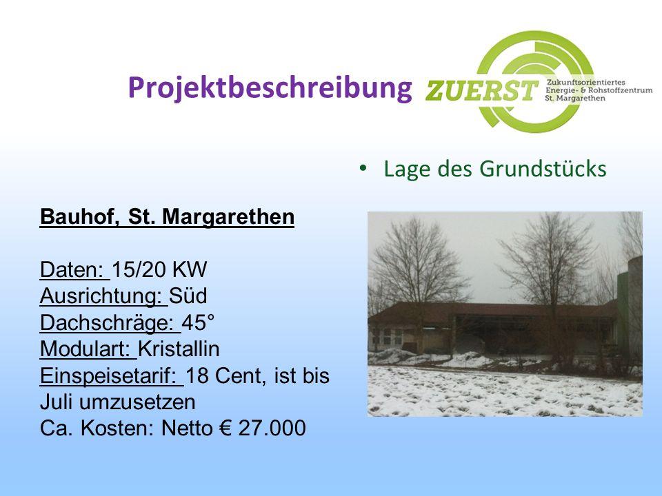 Projektbeschreibung Lage des Grundstücks Bauhof, St. Margarethen Daten: 15/20 KW Ausrichtung: Süd Dachschräge: 45° Modulart: Kristallin Einspeisetarif