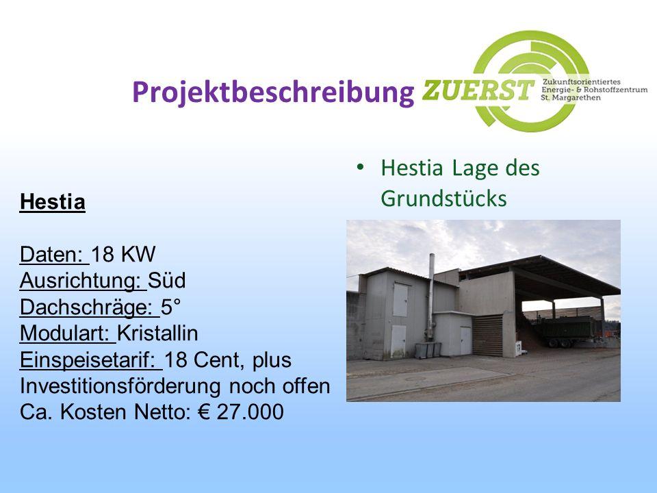 Projektbeschreibung Hestia Lage des Grundstücks Hestia Daten: 18 KW Ausrichtung: Süd Dachschräge: 5° Modulart: Kristallin Einspeisetarif: 18 Cent, plu