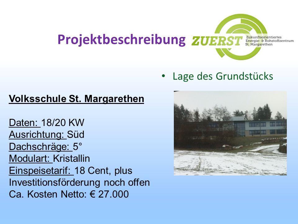 Projektbeschreibung Lage des Grundstücks Volksschule St. Margarethen Daten: 18/20 KW Ausrichtung: Süd Dachschräge: 5° Modulart: Kristallin Einspeiseta
