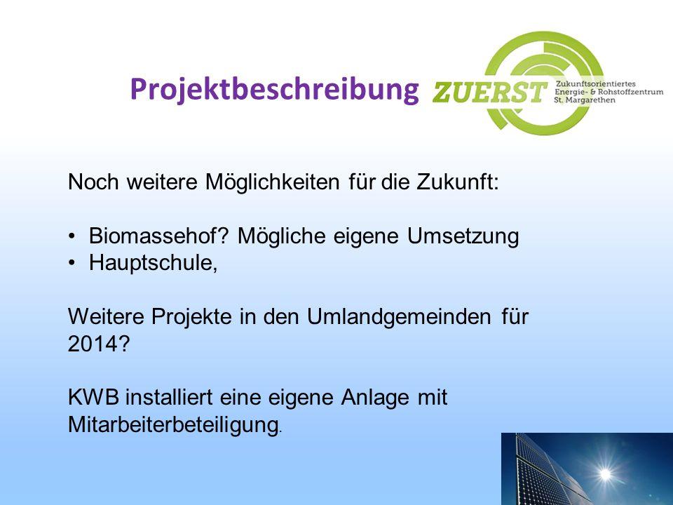 Projektbeschreibung Noch weitere Möglichkeiten für die Zukunft: Biomassehof? Mögliche eigene Umsetzung Hauptschule, Weitere Projekte in den Umlandgeme