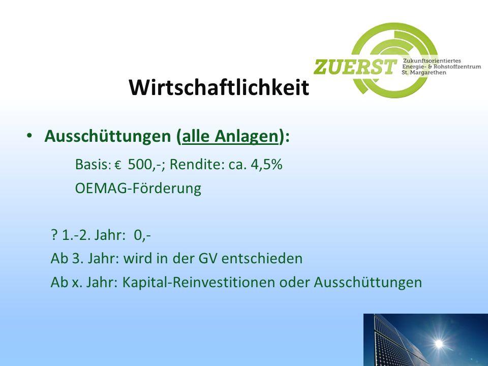 Wirtschaftlichkeit Ausschüttungen (alle Anlagen): Basis : 500,-; Rendite: ca. 4,5% OEMAG-Förderung ? 1.-2. Jahr: 0,- Ab 3. Jahr: wird in der GV entsch
