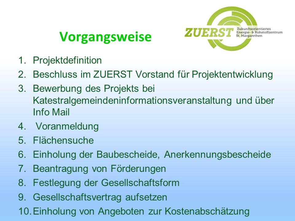1.Projektdefinition 2.Beschluss im ZUERST Vorstand für Projektentwicklung 3.Bewerbung des Projekts bei Katestralgemeindeninformationsveranstaltung und