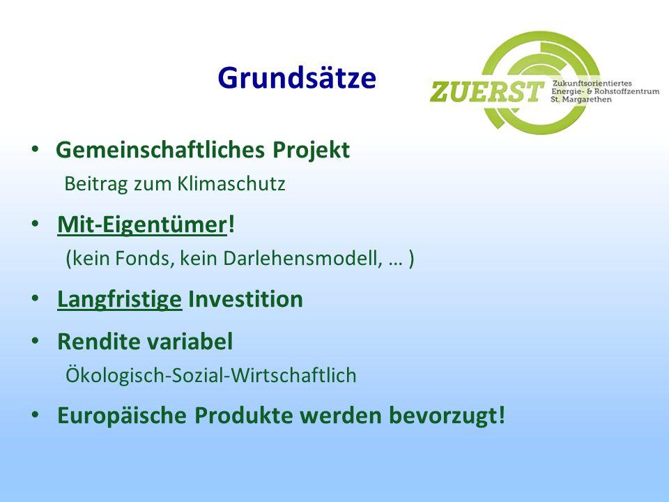 Grundsätze Gemeinschaftliches Projekt Beitrag zum Klimaschutz Mit-Eigentümer! (kein Fonds, kein Darlehensmodell, … ) Langfristige Investition Rendite
