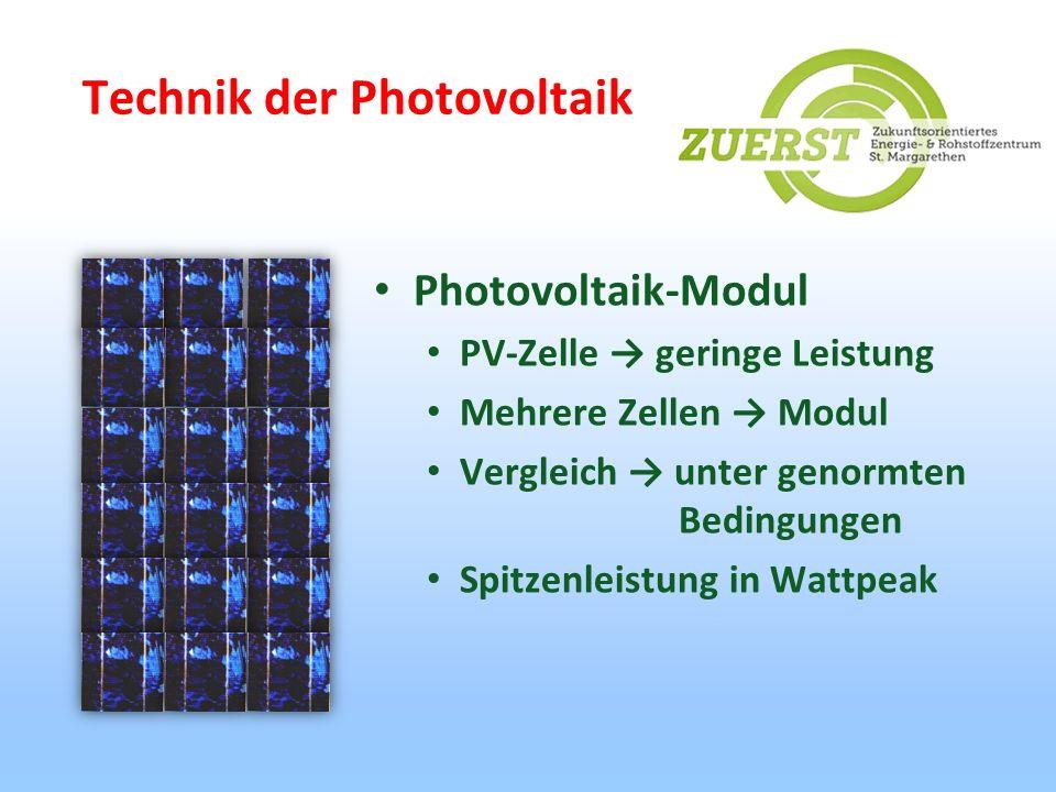 Technik der Photovoltaik Photovoltaik-Modul PV-Zelle geringe Leistung Mehrere Zellen Modul Vergleich unter genormten Bedingungen Spitzenleistung in Wa