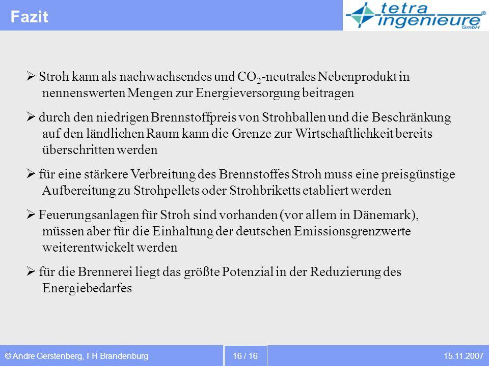 15.11.2007© Andre Gerstenberg, FH Brandenburg 16 / 16 Fazit Stroh kann als nachwachsendes und CO 2 -neutrales Nebenprodukt in nennenswerten Mengen zur