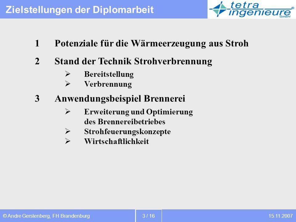 15.11.2007© Andre Gerstenberg, FH Brandenburg 14 / 16 3 Anwendungsbeispiel Brennerei Wirtschaftlichkeit