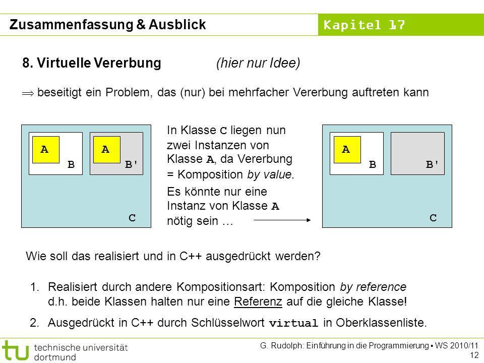 Kapitel 17 G. Rudolph: Einführung in die Programmierung WS 2010/11 12 8. Virtuelle Vererbung(hier nur Idee) beseitigt ein Problem, das (nur) bei mehrf