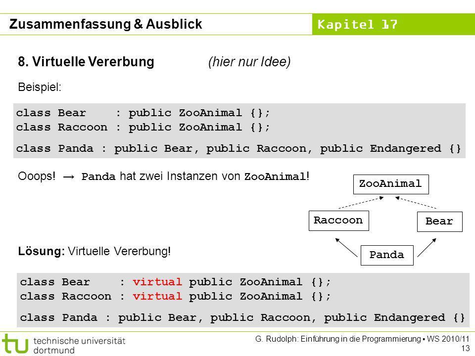 Kapitel 17 G. Rudolph: Einführung in die Programmierung WS 2010/11 13 8. Virtuelle Vererbung(hier nur Idee) Beispiel: class Bear : public ZooAnimal {}