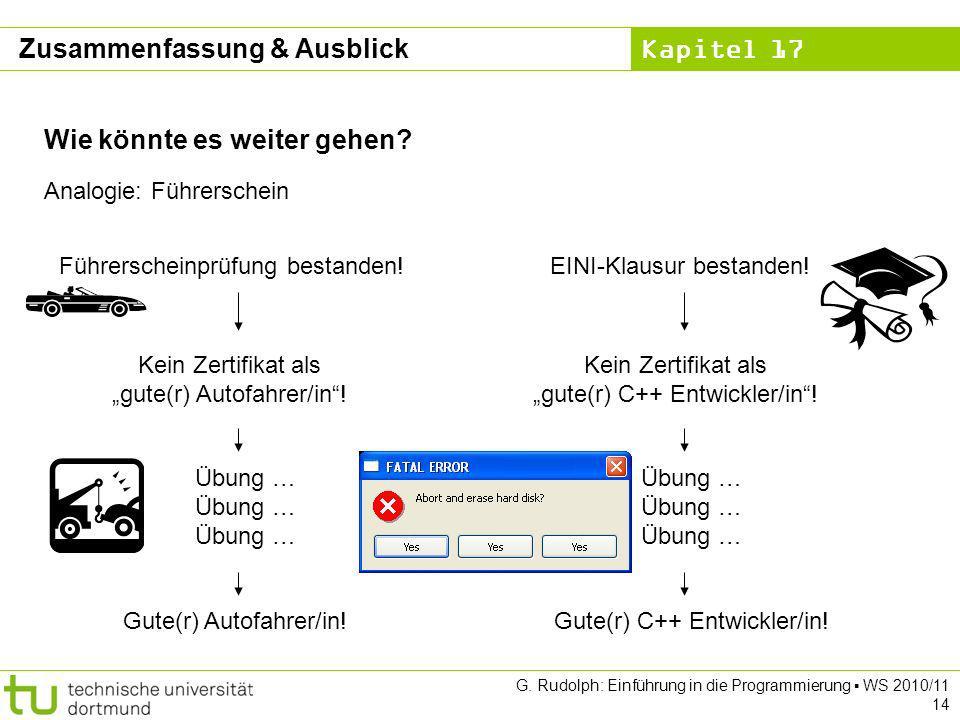 Kapitel 17 G. Rudolph: Einführung in die Programmierung WS 2010/11 14 Wie könnte es weiter gehen? Analogie: Führerschein Führerscheinprüfung bestanden