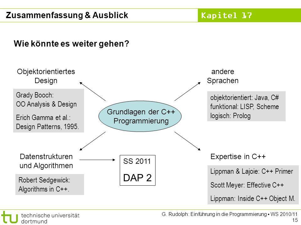 Kapitel 17 G. Rudolph: Einführung in die Programmierung WS 2010/11 15 Wie könnte es weiter gehen? Grundlagen der C++ Programmierung Expertise in C++ a