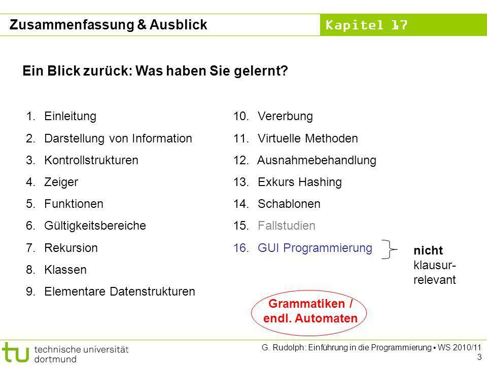 Kapitel 17 G. Rudolph: Einführung in die Programmierung WS 2010/11 3 Zusammenfassung & Ausblick Ein Blick zurück: Was haben Sie gelernt? 1.Einleitung