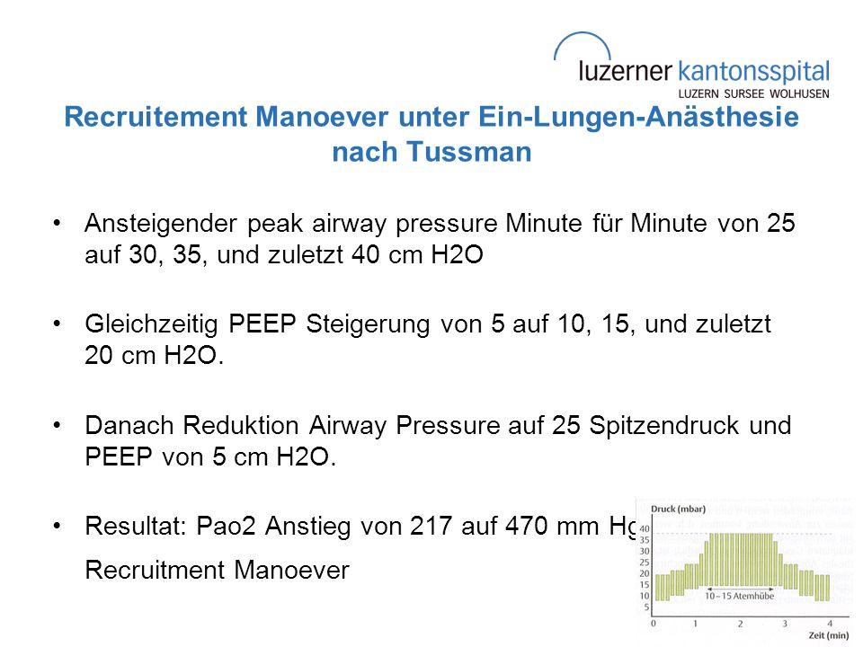 Recruitement Manoever unter Ein-Lungen-Anästhesie nach Tussman Ansteigender peak airway pressure Minute für Minute von 25 auf 30, 35, und zuletzt 40 c