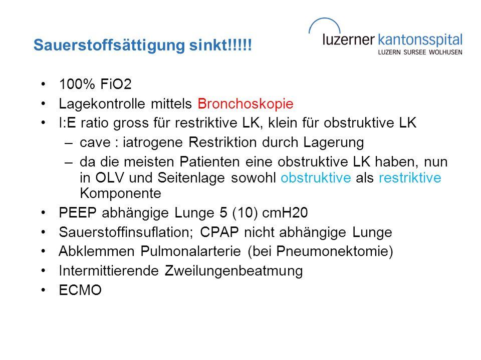 Sauerstoffsättigung sinkt!!!!! 100% FiO2 Lagekontrolle mittels Bronchoskopie I:E ratio gross für restriktive LK, klein für obstruktive LK –cave : iatr