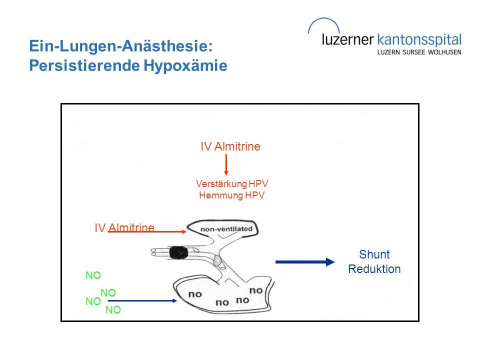 Ein-Lungen-Anästhesie: Persistierende Hypoxämie Shunt Reduktion NO IV Almitrine Verstärkung HPV Hemmung HPV