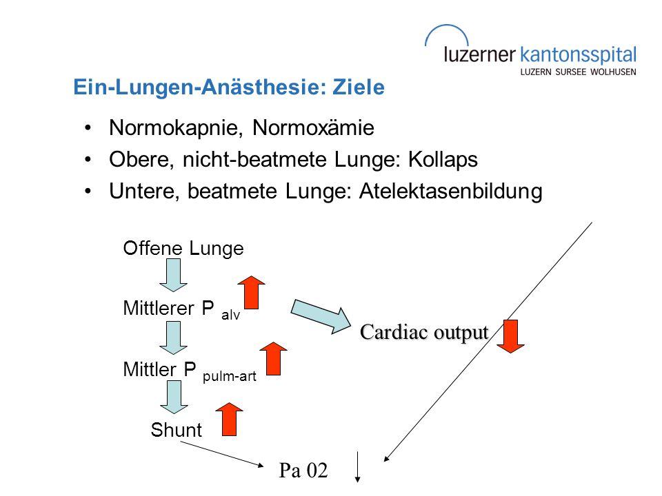 Ein-Lungen-Anästhesie: Ziele Normokapnie, Normoxämie Obere, nicht-beatmete Lunge: Kollaps Untere, beatmete Lunge: Atelektasenbildung Offene Lunge Mitt