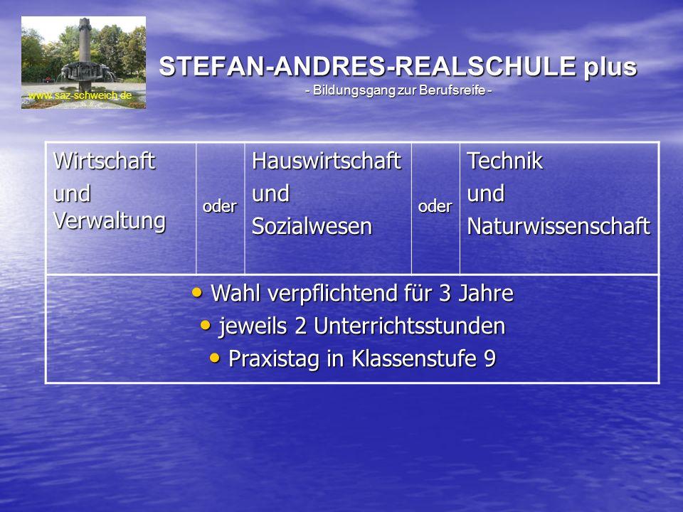 STEFAN-ANDRES-REALSCHULE plus - Bildungsgang zur Berufsreife - www.saz-schweich.de Wirtschaft und Verwaltung oderHauswirtschaftundSozialwesenoderTechn