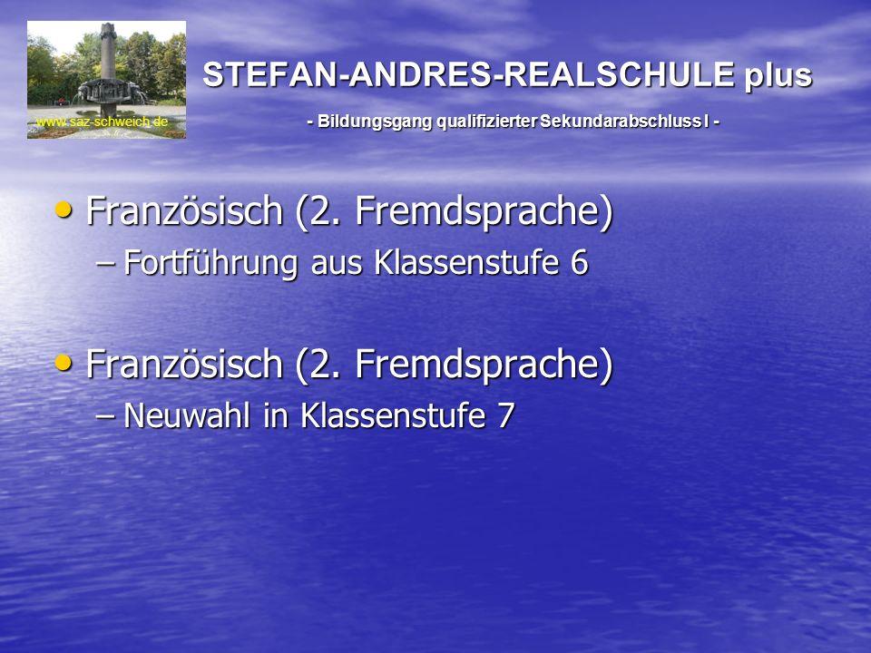 STEFAN-ANDRES-REALSCHULE plus - Bildungsgang qualifizierter Sekundarabschluss I - Französisch (2. Fremdsprache) Französisch (2. Fremdsprache) –Fortfüh