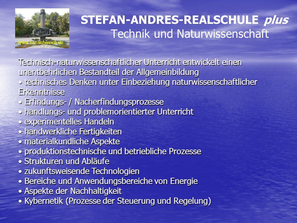 www.saz-schweich.de Technisch-naturwissenschaftlicher Unterricht entwickelt einen unentbehrlichen Bestandteil der Allgemeinbildung technisches Denken